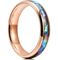 4mm - Women's Tungsten Wedding Bands. Domed Rose Gold Band and Multi Color Rainbow Abalone Shell Inlay Tungsten Carbide Ring (Organic colors)