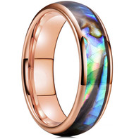 6mm - Unisex, Men's or Women's Tungsten Wedding Bands. Domed Rose Gold Band and Multi Color Rainbow Abalone Shell Inlay Tungsten Carbide Ring (Organic colors)