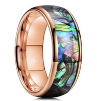 8mm - Unisex or Men's Tungsten Wedding Bands. Domed Rose Gold Band and Multi Color Rainbow Abalone Shell Inlay Tungsten Carbide Ring (Organic colors)