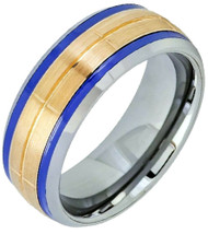8mm - Unisex or Men's Tungsten Wedding Bands. Silver Band with Yellow Gold Center and Blue Double Grooves. Tungsten Carbide Matte Finish Ring.