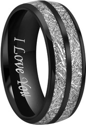 """8mm - Unisex or Men's Tungsten Wedding Band. Black Double Line Inspired Meteorite Domed Tungsten Carbide Ring. Comfort Fit with """"I love you"""" engraved"""