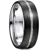 8mm - Unisex or Men's Tungsten Wedding Band. Inspired Meteorite Black Tungsten Carbide Ring with Inner Silver and Thin Stripe Meteorite Wedding Band