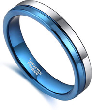 4mm - Unisex or Women's Tungsten Wedding Band. Blue and Silver Split Line Tungsten Carbide Ring