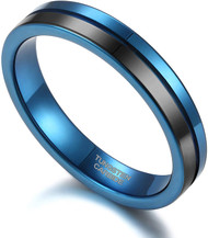 4mm - Unisex or Women's Tungsten Wedding Band. Blue and Black Split Line Tungsten Carbide Ring