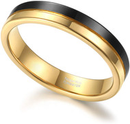 4mm - Unisex or Women's Tungsten Wedding Band. Black and Gold Split Line Tungsten Carbide Ring