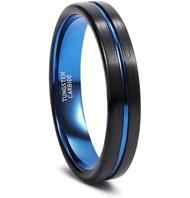 womens tungsten wedding bands blue, mens tungsten ring black and blue