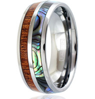 8mm - Unisex, Men's or Women's Wedding Tungsten Wedding Band. Silver Band - Rainbow Abalone Shell & Wood Inlay. Tungsten Carbide Ring. Comfort Fit Brushed Tungsten Carbide Wedding Ring
