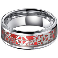 8mm - Unisex or Men's Tungsten Wedding Band. Silver Band with Silver Tone Mechanical Gear Over Red Opal Inspired Inlay. Tungsten Carbide Ring