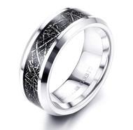 8mm - Unisex or Men's Tungsten Wedding Band. Silver Band with Inspired Meteorite Tungsten Carbide Ring. Dark Meteorite Wedding Band