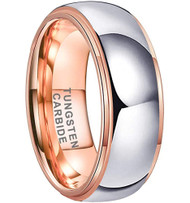 8mm - Unisex or Men's Tungsten Wedding Band. Rose Gold and Silver Dome Gunmetal Bridal Ring. Tungsten Carbide Wedding Ring. Mens Jewelry