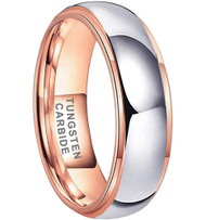 6mm - Unisex or Women's Tungsten Wedding Band. Rose Gold and Silver Dome Gunmetal Tungsten Carbide Ring