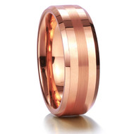 8mm - Unisex or Men's Tungsten Wedding Band. Rose Gold Tone with Matte Finish Stripe. Comfort Fit