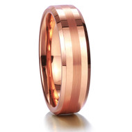 6mm - Unisex or Women's Tungsten Wedding Band. Rose Gold Tone with Matte Finish Stripe. Comfort Fit