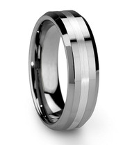 6mm - Unisex or Women's Tungsten Wedding Band Ring. Silver Polished Ring with Matte Finish Stripe. Comfort Fit.