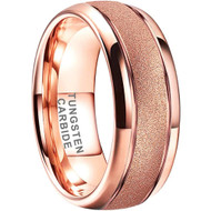 8mm - Unisex or Men's Tungsten Wedding Band. Rose Gold Sand Blasted Glitter with Polished Sides. Domed and Comfort Fit