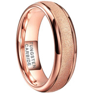 6mm - Unisex, Women's or Men's Tungsten Wedding Bands. Rose Gold Sand Blasted Glitter with Polished Sides. Domed and Comfort Fit