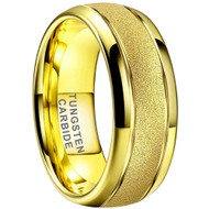 8mm - Unisex or Men's Tungsten Wedding Band. Yellow Gold Sand Blasted Glitter with Polished Sides. Domed and Comfort Fit