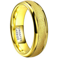6mm - Unisex, Women's or Men's Tungsten Wedding Bands. Yellow Gold Sand Blasted Glitter with Polished Sides. Domed and Comfort Fit