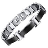 "8.5"" Inch - Silver and Black Titanium Magnetic Bracelet Mens - Black and Silver Link Design"