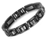 "8.5"" inch - Steel Bracelet Mens - All Black - Magnetic Mens Stainless Steel Bracelets"