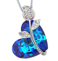 """Rose and Blue Heart Crystal Pendant with 18"""" Chain Necklace. For Lover's, Girl Friend, Wife, Valentine's Day, Mother's Day, Anniversary Gift Necklace for Women."""