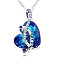 """Dark Blue Heart Crystal Pendant with """"I Love You"""" and 18"""" Chain Necklace. September Birthstone Blue Crystal - For Lover's, Girl Friend, Wife, Valentine's Day, Mother's Day, Anniversary Gift - Heart Necklace for Women."""