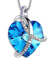 """Sky Blue Heart Crystal Pendant with """"I Love You"""" and 18"""" Chain Necklace. December Birthstone Light Sky Blue Crystal - For Lover's, Girl Friend, Wife, Valentine's Day, Mother's Day, Anniversary Gift - Heart Necklace for Women."""