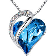 """Bermuda Sapphire Blue Heart Crystal Pendant with 18"""" Chain Necklace. September Birthstone Blue Crystal - For Lover's, Girl Friend, Wife, Valentine's Day, Mother's Day, Anniversary Gift - Heart Necklace for Women."""