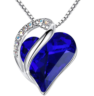"""Cobalt Blue Heart Crystal Pendant with 18"""" Chain Necklace. Dark Blue Crystal - For Lover's, Girl Friend, Wife, Valentine's Day, Mother's Day, Anniversary Gift - Wisdom Stone - Heart Necklace for Women."""