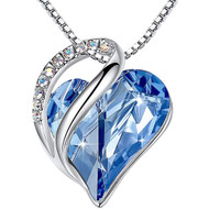 """Light Sapphire Blue Heart Crystal Pendant with 18"""" Chain Necklace. December Birthstone Light Sky Blue Crystal - For Lover's, Girl Friend, Wife, Valentine's Day, Mother's Day, Anniversary Gift - Heart Necklace for Women."""