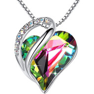"""Black Dark Rainbow Heart Crystal Pendant with 18"""" Chain Necklace. April Birthstone Crystal - For Lover's, Girl Friend, Wife, Valentine's Day, Mother's Day, Anniversary Gift - Protection Stone - Heart Necklace for Women."""