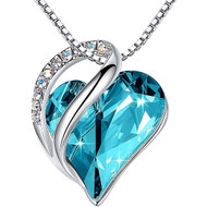 """Turquoise Blue / Aqua Blue Heart Crystal Pendant with 18"""" Chain Necklace. December Birthstone Light Sky Blue Crystal - For Lover's, Girl Friend, Wife, Valentine's Day, Mother's Day, Anniversary Gift - Heart Necklace for Women."""