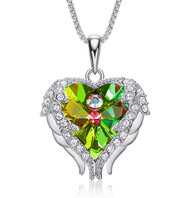 """925 Silver Pendant with Light Green Rainbow Heart Crystal Hugged with Angel Wings and 18"""" Chain Necklace. For Lover's, Girl Friend, Wife, Valentine's Day, Mother's Day, Anniversary Gift Necklace for Women."""