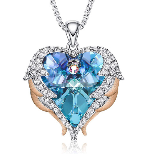 Rose Gold and White Gold (Silver) Pendant with Blue Heart Crystal Hugged with Angel Wings and 18″ Chain Necklace. For Lover's, Girl Friend, Wife, Valentine's Day, Mother's Day, Anniversary Gift Necklace for Women.