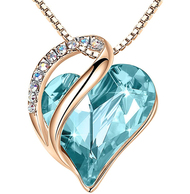 """Topaz Light Blue Heart Crystal Rose Gold Pendant with 18"""" Chain Necklace. December Birthstone. Light Blue Crystal - For Lover's, Girl Friend, Wife, Valentine's Day, Mother's Day, Anniversary Gift - Heart Necklace for Women."""
