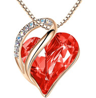 """Carnelian Red Crystal Heart Rose Gold Pendant with 18"""" Chain Necklace. January / July Birthstone Courage Crystal - For Lover's, Girl Friend, Wife, Valentine's Day, Mother's Day, Anniversary Gift - Heart Necklace for Women."""