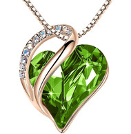 """Peridot Light Green Heart Crystal - Rose Gold Pendant with 18"""" Chain Necklace. August Birthstone Crystal - For Lover's, Girl Friend, Wife, Valentine's Day, Mother's Day, Anniversary Gift - Heart Necklace for Women."""