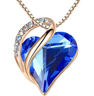 """Dark Sapphire Blue Heart Crystal - Rose Gold Pendant with 18"""" Chain Necklace. September Birthstone Blue Crystal - For Lover's, Girl Friend, Wife, Valentine's Day, Mother's Day, Anniversary Gift - Heart Necklace for Women."""