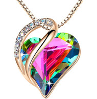 """Obsidian Black Dark Rainbow Heart Crystal - Rose Gold Pendant with 18"""" Chain Necklace. April Birthstone Crystal - For Lover's, Girl Friend, Wife, Valentine's Day, Mother's Day, Anniversary Gift - Protection Stone - Heart Necklace for Women."""