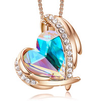 """White Rainbow Heart Crystal with Angel Wings  - Rose Gold Pendant with 18"""" Chain Necklace. April Birthstone Crystal - For Lover's, Girl Friend, Wife, Valentine's Day, Mother's Day, Anniversary Gift - Protection Stone - Heart Necklace for Women."""