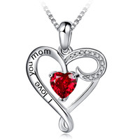 """I Love You Mom - Red Ruby Stone and Clear CZ Heart Pendant with 18"""" Silver Tone Chain Necklace. Mother's Day Gift, Birthday Gift for Mom Necklace Jewelry"""