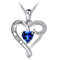 """I Love You Mom - Sapphire Blue Stone and Clear CZ Heart Pendant with 18"""" Silver Tone Chain Necklace. Mother's Day Gift, Birthday Gift for Mom Necklace Jewelry"""