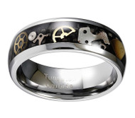 8mm - Unisex or Men's Tungsten Wedding Band. Wedding Band Silver with Vintage Mechanical Gears (Silver and Gold) Over Black Carbon Fiber. Tungsten Carbide Ring