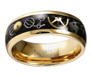 8mm - Unisex or Men's Tungsten Wedding Band. Wedding Band Gold with Vintage Mechanical Gears (Silver and Gold) Over Black Carbon Fiber. Tungsten Carbide Ring