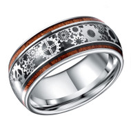 mens tungsten wedding bands wood, silver gears, mens tungsten ring black silver gears