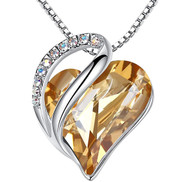 """Golden Yellow Heart Crystal Pendant with 18"""" Chain Necklace. November Birthstone Crystal - For Lover's, Girl Friend, Wife, Valentine's Day, Mother's Day, Anniversary Gift - Heart Necklace for Women."""