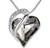 """Translucent Black Crystal Pendant with 18"""" Chain Necklace. Spiritual Protection Stone - For Lover's, Girl Friend, Wife, Valentine's Day, Mother's Day, Anniversary Gift - Heart Necklace for Women."""