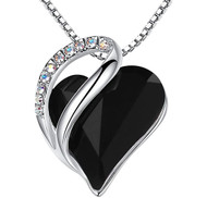 """Dark Black Crystal Pendant with 18"""" Chain Necklace. Spiritual Protection Stone - For Lover's, Girl Friend, Wife, Valentine's Day, Mother's Day, Anniversary Gift - Heart Necklace for Women."""