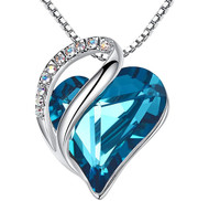 """Zircon Blue Heart Crystal Pendant with 18"""" Chain Necklace. December Birthstone  Blue Crystal - For Lover's, Girl Friend, Wife, Valentine's Day, Mother's Day, Anniversary Gift - Heart Necklace for Women."""