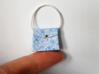 1/12th dollhouse Handbag/Purse Blue Floral (BSO4)